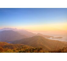Majestic mountain landscape at sunset in Hong Kong Photographic Print