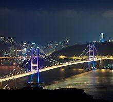 Hong Kong modern flyover bridges at night by kawing921