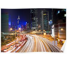 Traffic in Hong Kong downtown at night Poster