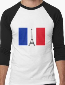 France Flag, Eiffel Tower Men's Baseball ¾ T-Shirt