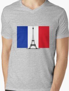 France Flag, Eiffel Tower Mens V-Neck T-Shirt