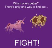 Invisible Pink Unicorn vs Flying Spaghetti Monster (dark) by CathySW