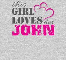 This Girl Loves Her John for light garments  Women's Fitted V-Neck T-Shirt