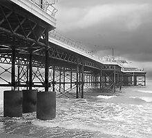 Norfolk's Cromer pier at low tide. by Paul Pasco
