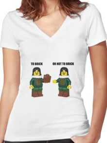 To brick or not to brick Women's Fitted V-Neck T-Shirt