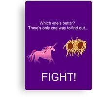 Invisible Pink Unicorn vs Flying Spaghetti Monster (dark) Canvas Print