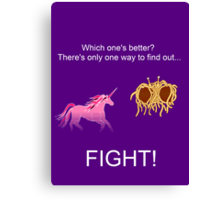 Invisible Pink Unicorn vs Flying Spaghetti Monster (dark) Canvas Print
