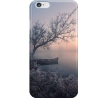 Early morning, a tree and a boat on the lake iPhone Case/Skin