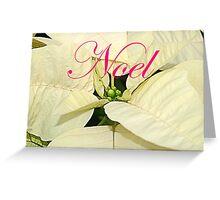 Noel.  White Poinsettia Christmas Card, ne485c Greeting Card