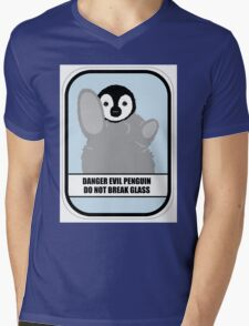 Danger Evil Penguin Mens V-Neck T-Shirt
