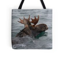 swimming moose Tote Bag