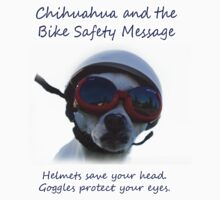Chihuahua and the Bike Safety Message Tee and Sticker Kids Tee