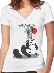 SAVE THE PANDAS! $2 donation for every shirt sold Women's Fitted V-Neck T-Shirt