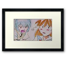 Neon Genesis Evangelion - Asuka Langley & Rei Ayanami STITCH - 2015 1080p Blu-Ray Cleaned Upscales Framed Print