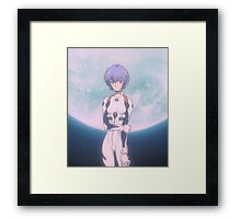 Neon Genesis Evangelion - Rei Ayanami Moon - 2015 1080p Blu-Ray Cleaned Upscales Framed Print