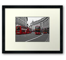 London Buses Selective Colouring Framed Print