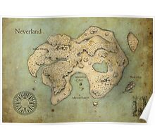 Peter Pan Neverland Map Poster