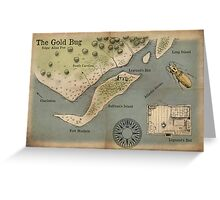 Poe - The Gold Bug - Map Greeting Card