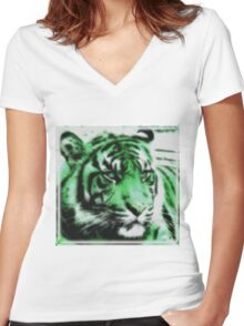 Green Tiger Women's Fitted V-Neck T-Shirt