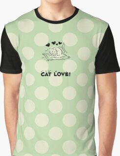Kitty, Cat Love, Hearts - Black Green  Graphic T-Shirt