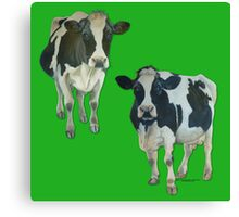 Two Cows on Green Canvas Print