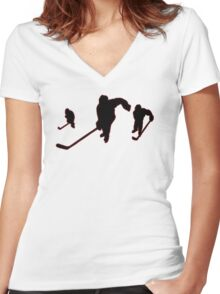 Ice Hockey Women's Fitted V-Neck T-Shirt