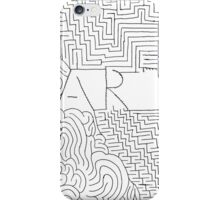 Black white hand painted typo zigzag pattern  iPhone Case/Skin