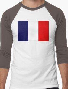 France Flag Dirty Men's Baseball ¾ T-Shirt