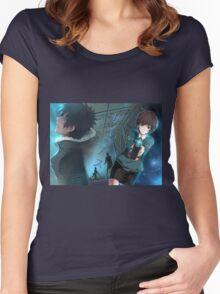"Psycho-Pass - Akane Tsunemori and Shinya ""Kou"" Kougami (Title Text) Women's Fitted Scoop T-Shirt"