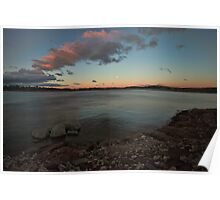 Lake in Sunset Blue Poster