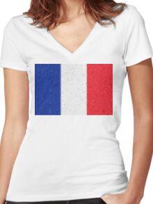 France Flag Mosaic Women's Fitted V-Neck T-Shirt