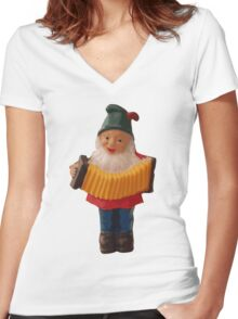 Gnome playing the concertina Women's Fitted V-Neck T-Shirt