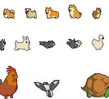Animal Pixel Art Stickers by zedotagger