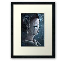 Geisha in Snow: The Stoic Concubine Framed Print