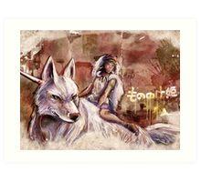Mononoke and the Wolf Digital Painting Art Print