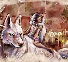 Mononoke and the Wolf Digital Painting by barrettbiggers