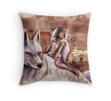 Mononoke and the Wolf Digital Painting Throw Pillow