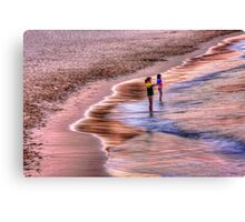 Girls loving the pretty pink sunset Canvas Print