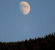 Moonrise Over Cascade Locks by artisandelimage