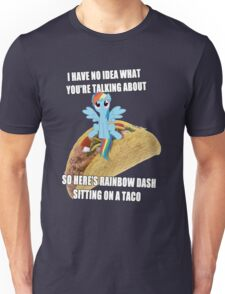 Rainbow Dash Sitting On A Taco Unisex T-Shirt