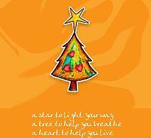 Christmas Card - Groovy Orange Wish Tree by © Karin Taylor