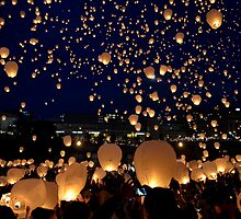 Chinese Lanterns 2 by Debbie  Maglothin