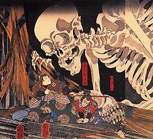 Old Japanese Art / Painting - Ukiyo-e - Skeleton - Demon by frc qt