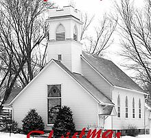 Christmas Card Community Church Black and White by Tony Weatherman