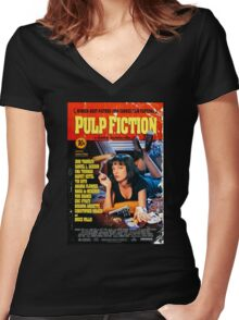 Pulp Fiction - Promotional Poster Women's Fitted V-Neck T-Shirt