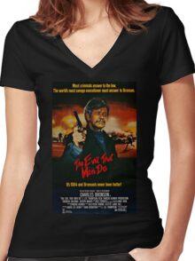 The Evil That Men Do - Charles Bronson - Movie Promo Poster Women's Fitted V-Neck T-Shirt