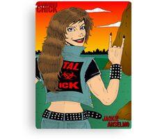 Headbanger Chick - Devil Horns Canvas Print