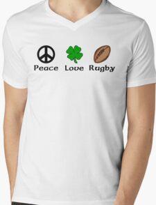 Peace Shamrock Rugby Mens V-Neck T-Shirt