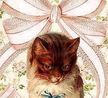 Vintage floral cat with giant bow by hellohappy