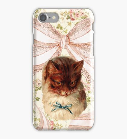 Vintage floral cat with giant bow iPhone Case/Skin